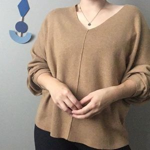 H&M Conscious Tan V Neck Tunic Sweater Oversized